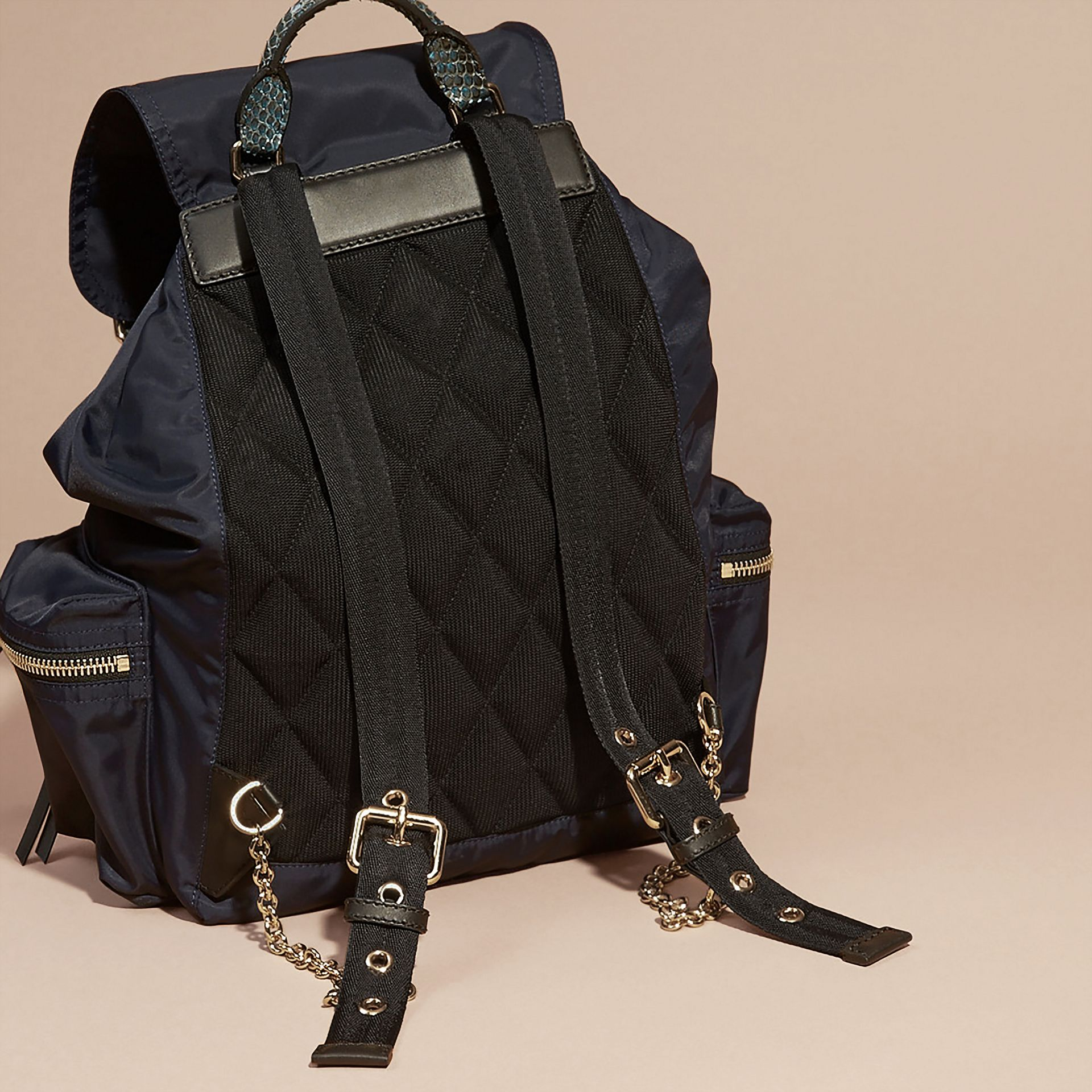 The Large Rucksack in Technical Nylon and Snakeskin in Ink Blue/mineral Blue - gallery image 4