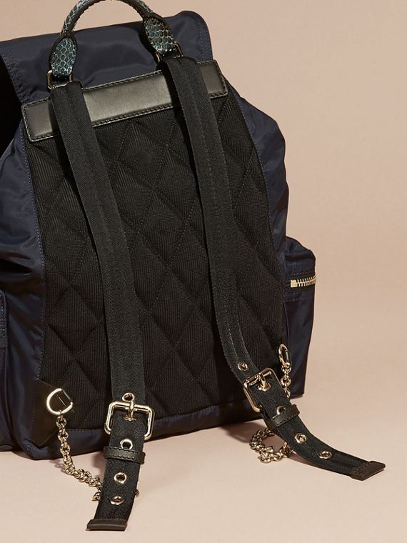 The Large Rucksack in Technical Nylon and Snakeskin in Ink Blue/mineral Blue - cell image 3