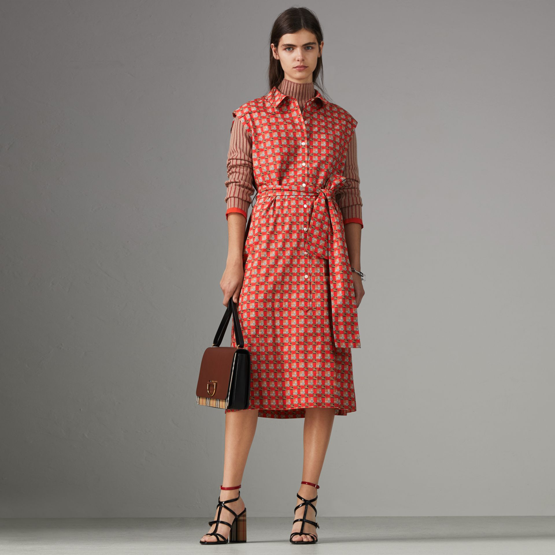 Tiled Archive Print Cotton Shirt Dress in Bright Red - Women | Burberry Australia - gallery image 0