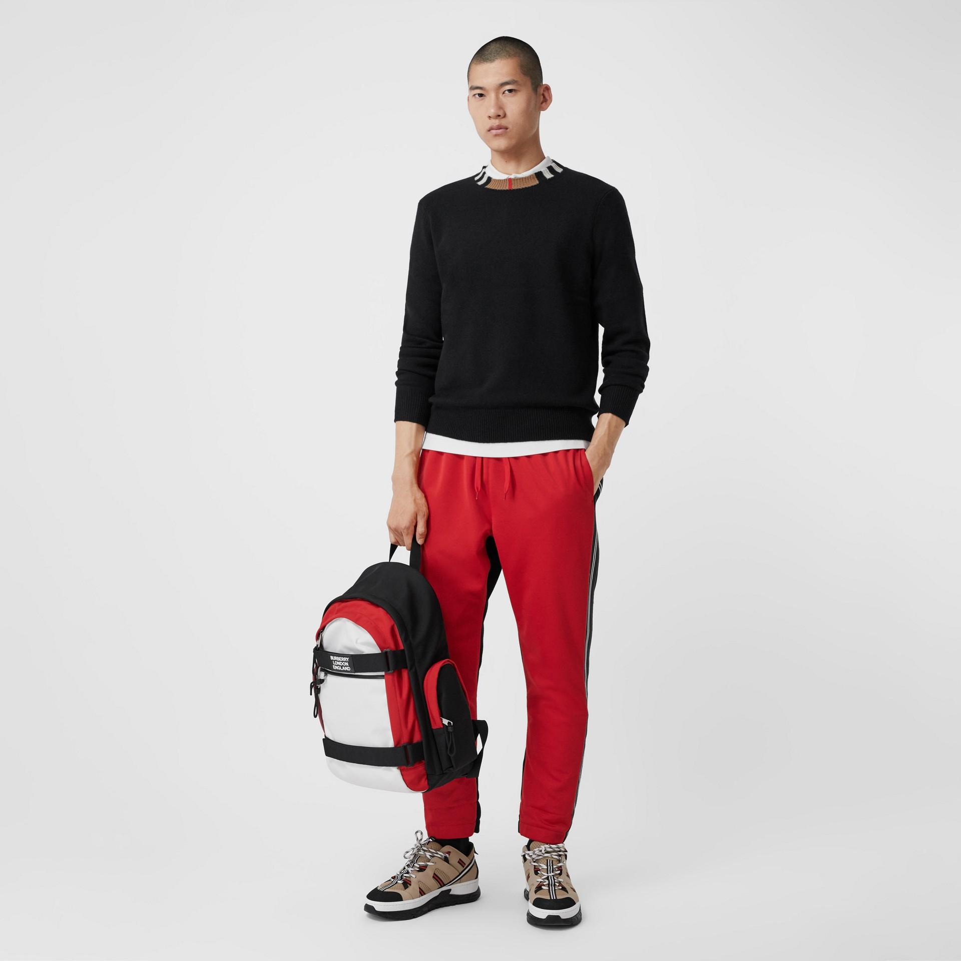 Icon Stripe Trim Cashmere Sweater in Black - Men | Burberry - gallery image 4