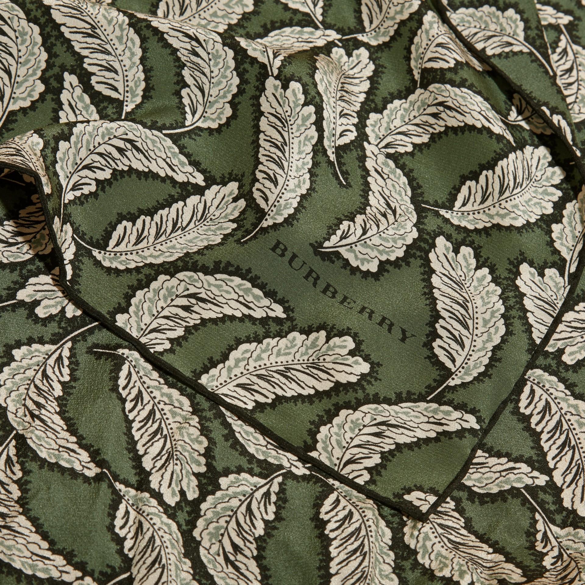 Dusty green Leaf Print Silk Scarf Dusty Green - gallery image 2