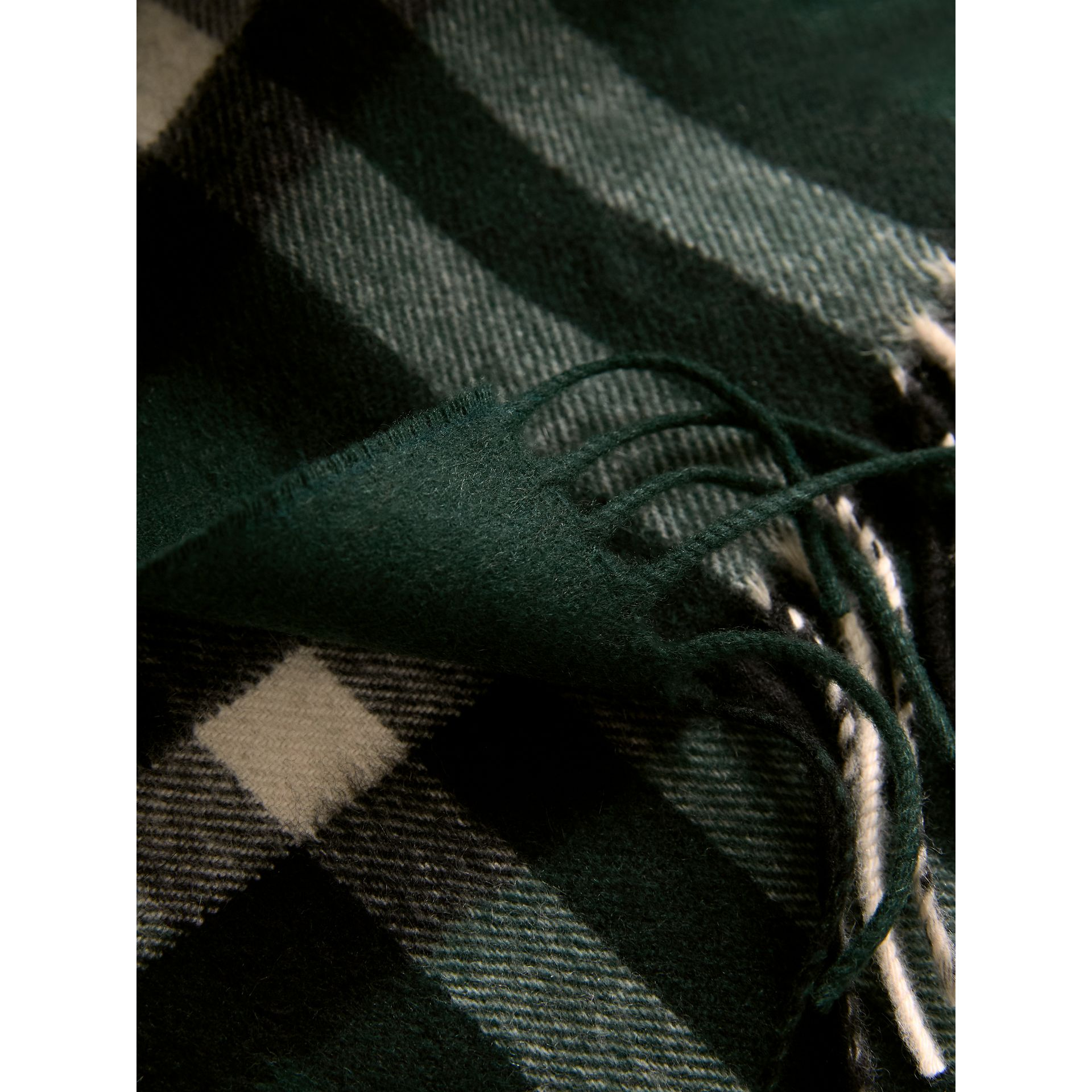 The Classic Check Cashmere Scarf in Dark Forest Green | Burberry - gallery image 5
