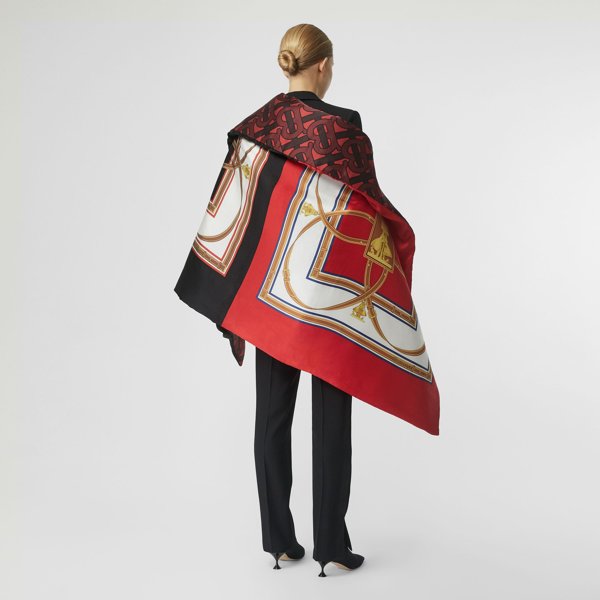 Archive Scarf Print Silk Satin Oversized Puffer Cape in Crimson - Women | Burberry - gallery image 2
