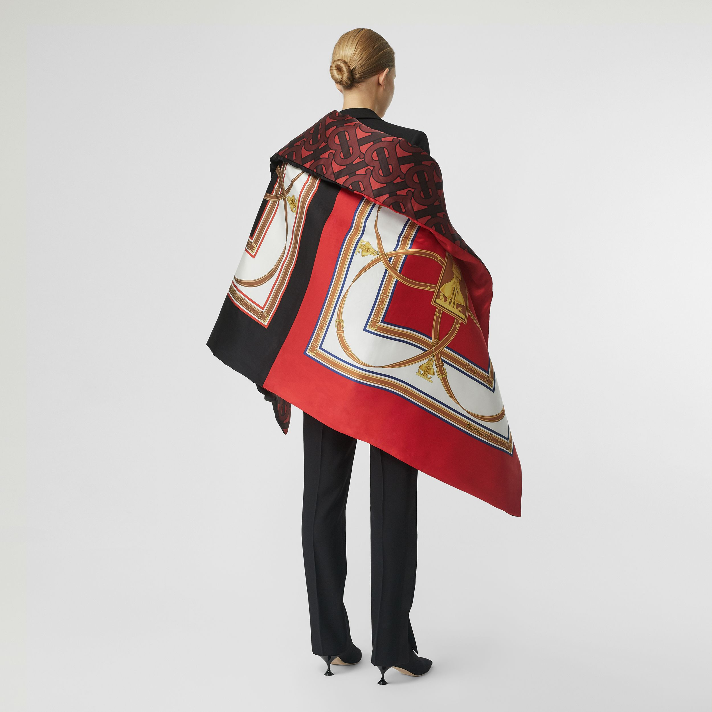 Archive Scarf Print Silk Satin Oversized Puffer Cape in Crimson - Women | Burberry - 3