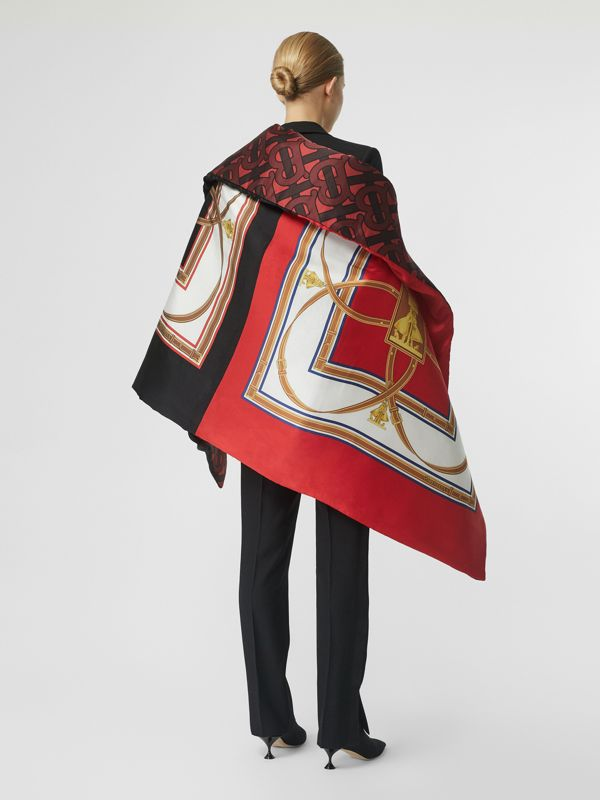 Archive Scarf Print Silk Satin Oversized Puffer Cape in Crimson - Women | Burberry - cell image 2