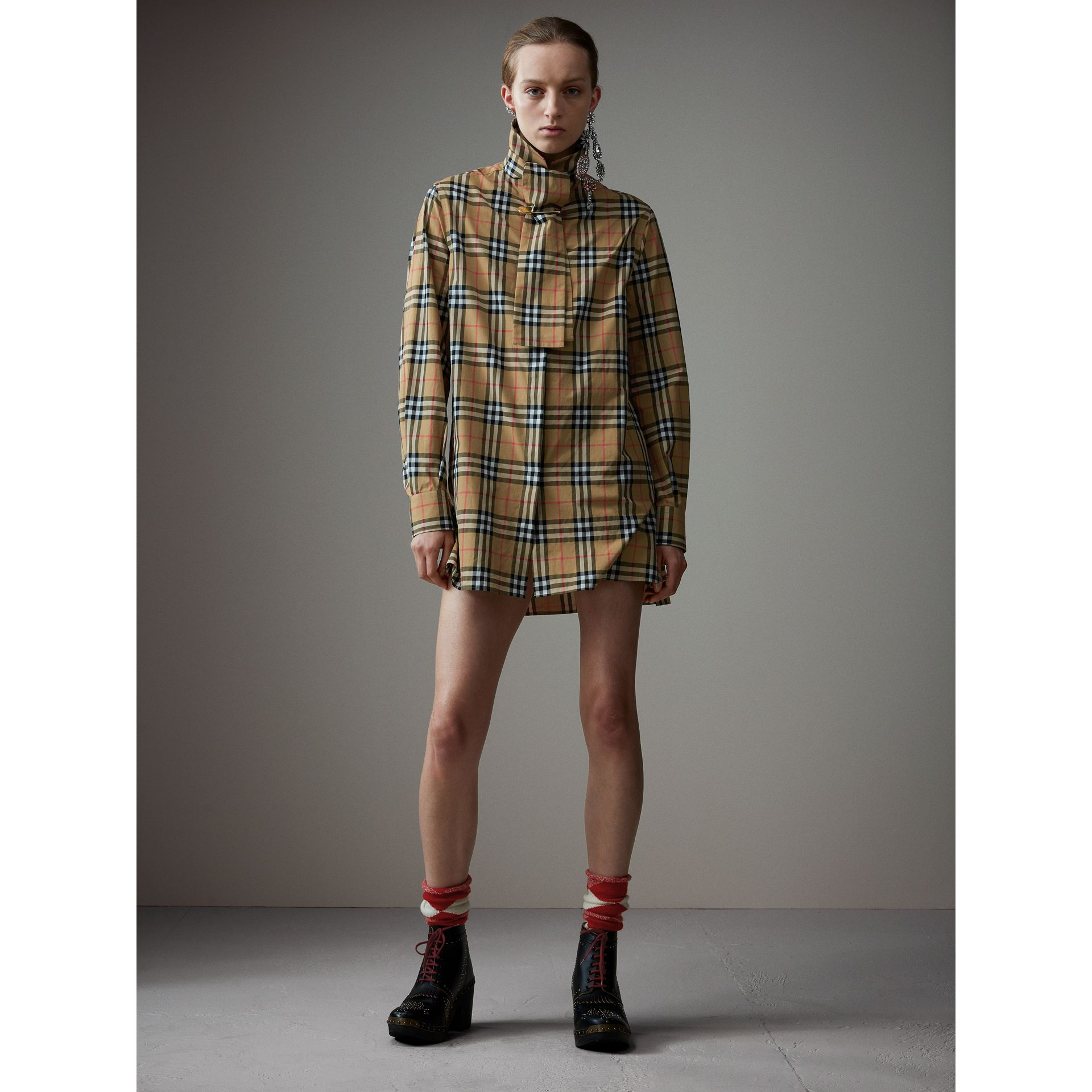 Vintage Check Cotton Tie-neck Riding Shirt in Antique Yellow - Women | Burberry Hong Kong - gallery image 1
