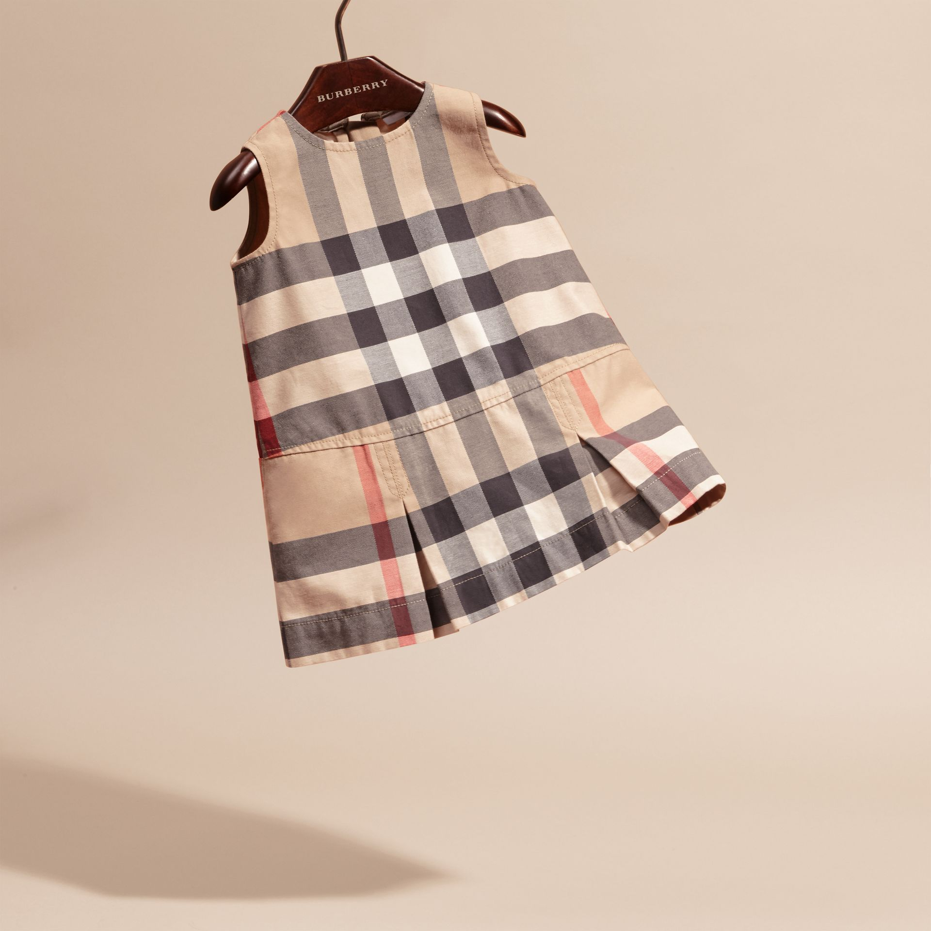Washed Check Cotton Dress in New Classic | Burberry - gallery image 3