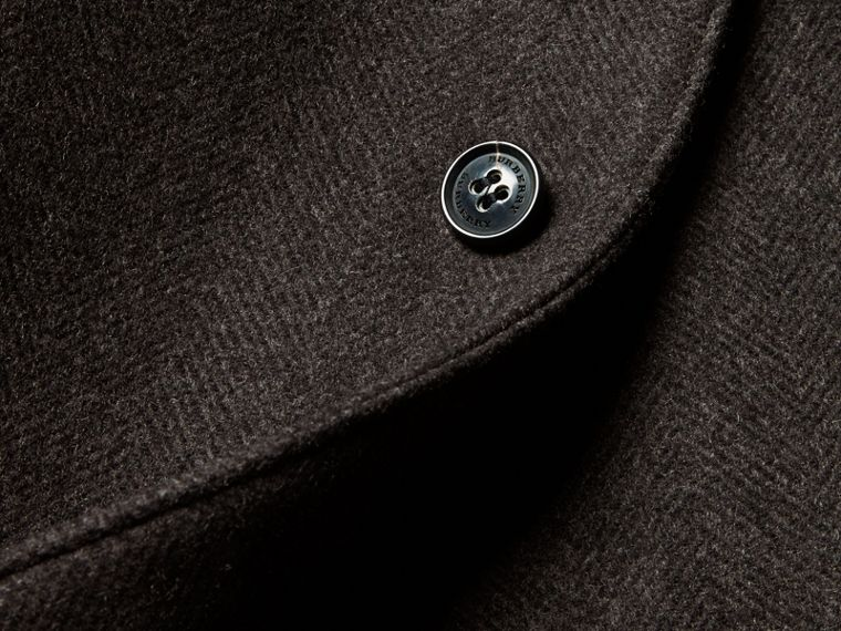 Charcoal melange Single-breasted Wool Blend Tailored Coat - cell image 1
