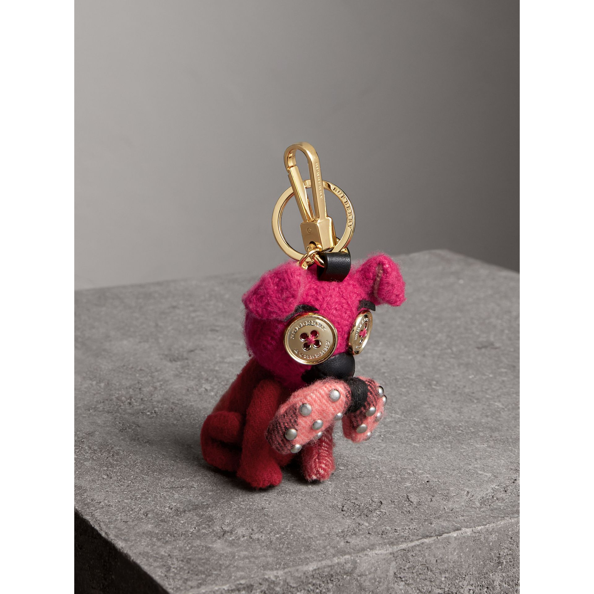 Seymour The Bull Dog Cashmere Charm in Parade Red | Burberry Australia - gallery image 0