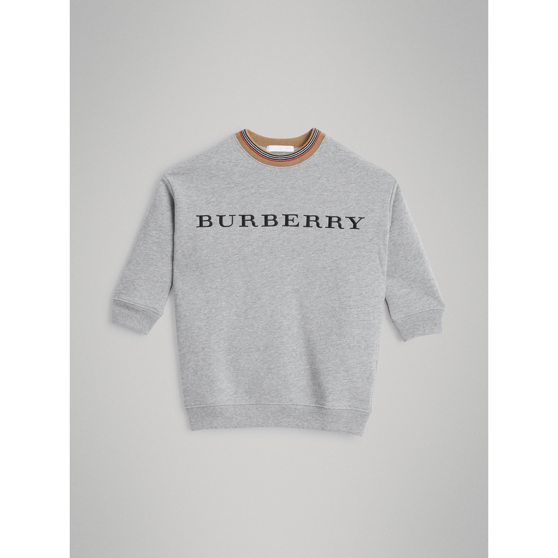 Embroidered Logo Cotton Dress in Grey Melange - Girl | Burberry - gallery image 0