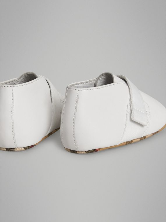 Leather and Vintage Check Shoes in Optic White | Burberry - cell image 2