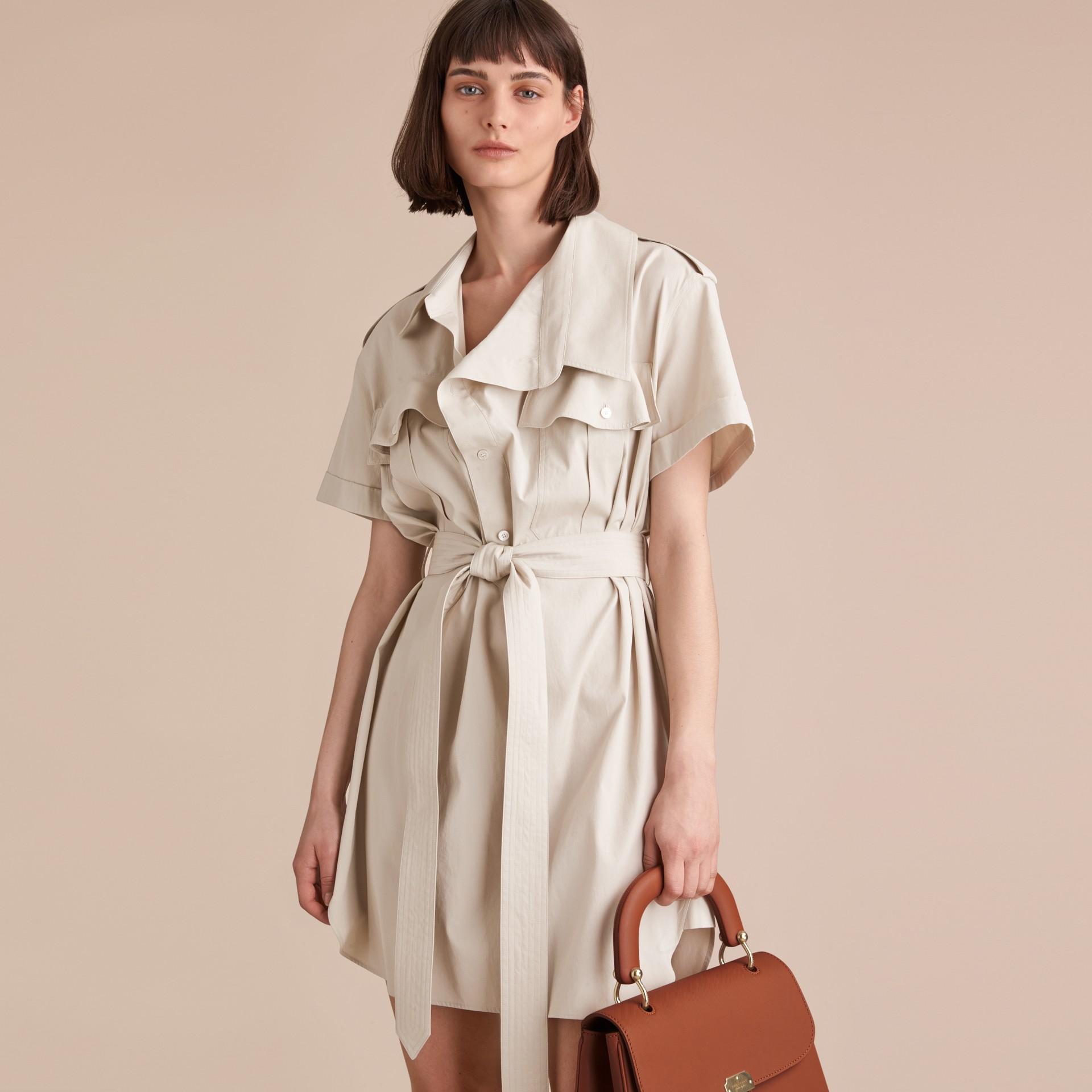 Tie-waist Cotton Shirt Dress - gallery image 6