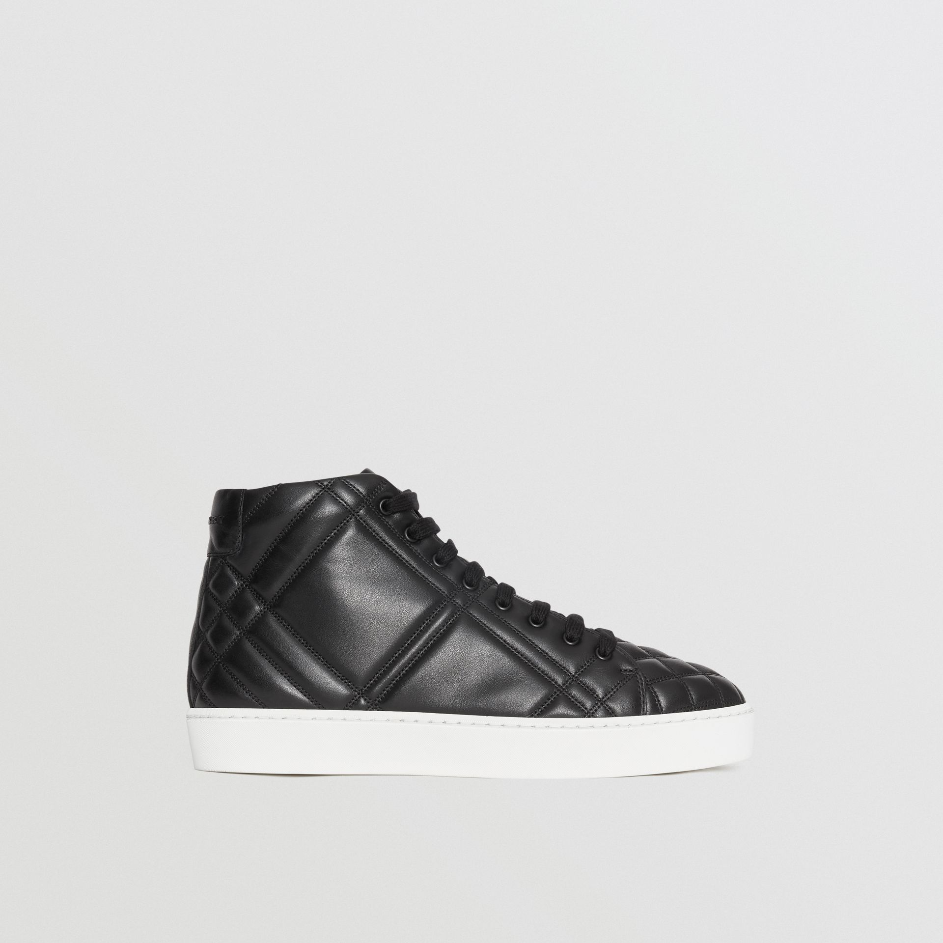 Check-quilted Leather High-top Sneakers in Black - Women | Burberry - gallery image 5