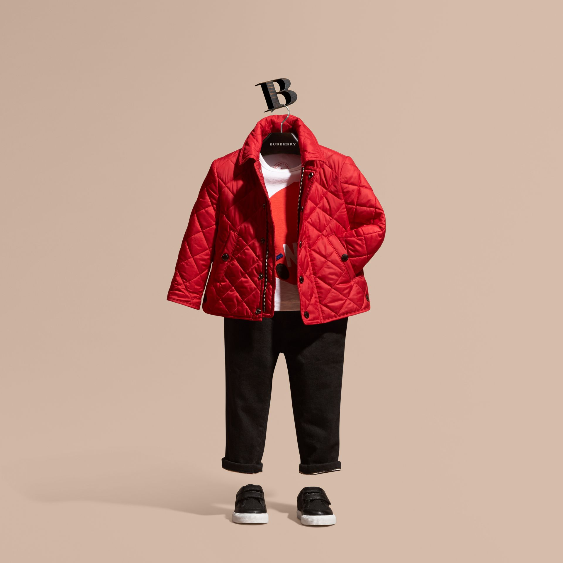 Lightweight Quilted Jacket in Bright Cherry Red | Burberry - gallery image 1