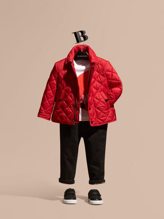Lightweight Quilted Jacket Bright Cherry Red
