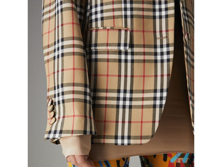 Vintage Check Wool Tailored Jacket in Antique Yellow - Women | Burberry - cell image 4