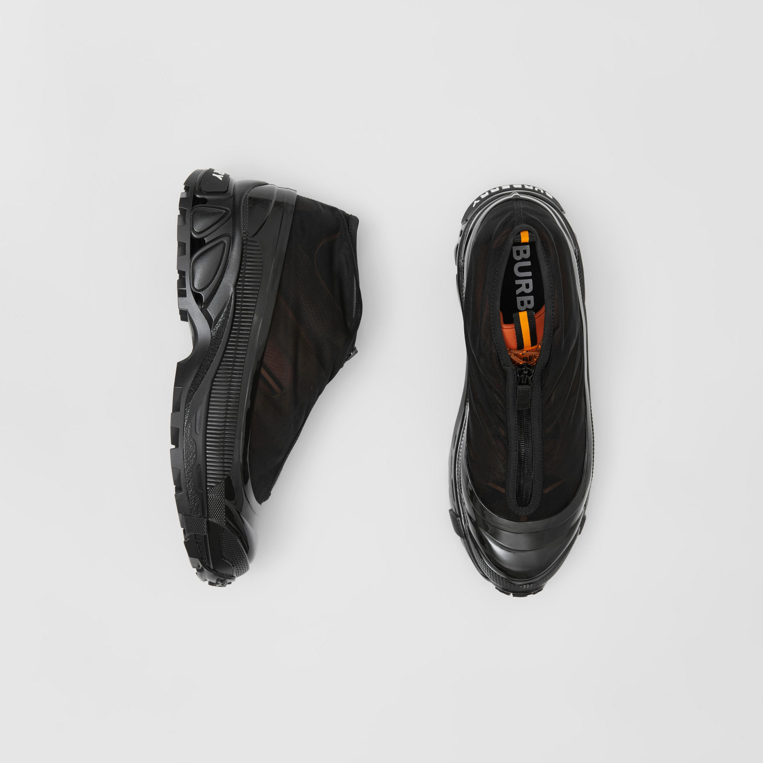 Nylon and Suede Arthur Sneakers in Black/bright Orange | Burberry - 1