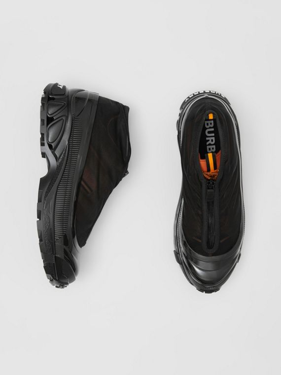 Nylon and Suede Arthur Sneakers in Black/bright Orange