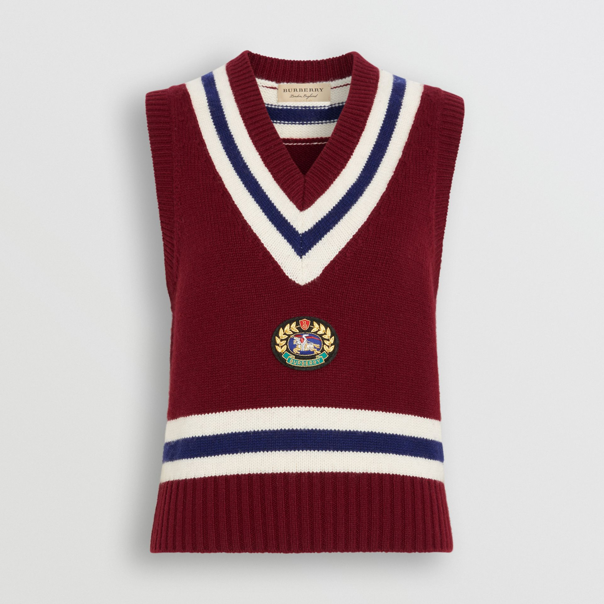 Embroidered Crest Wool Cashmere Tank Top in Burgundy - Women | Burberry - gallery image 3