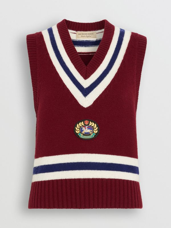 Embroidered Crest Wool Cashmere Tank Top in Burgundy - Women | Burberry - cell image 3