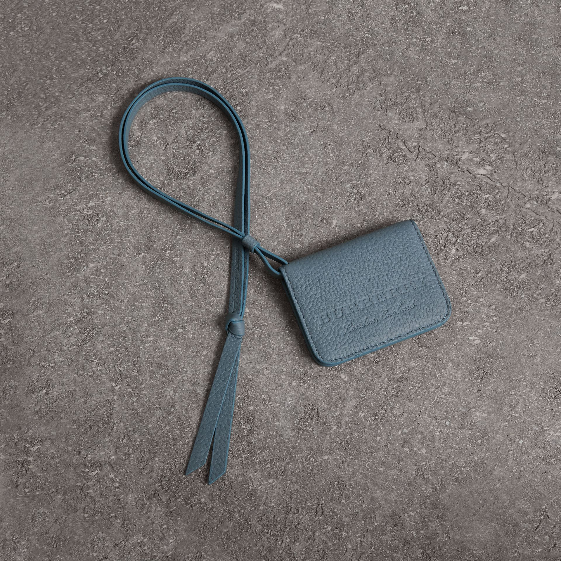 Embossed Leather ID Card Case Charm in Dusty Teal Blue | Burberry - gallery image 0