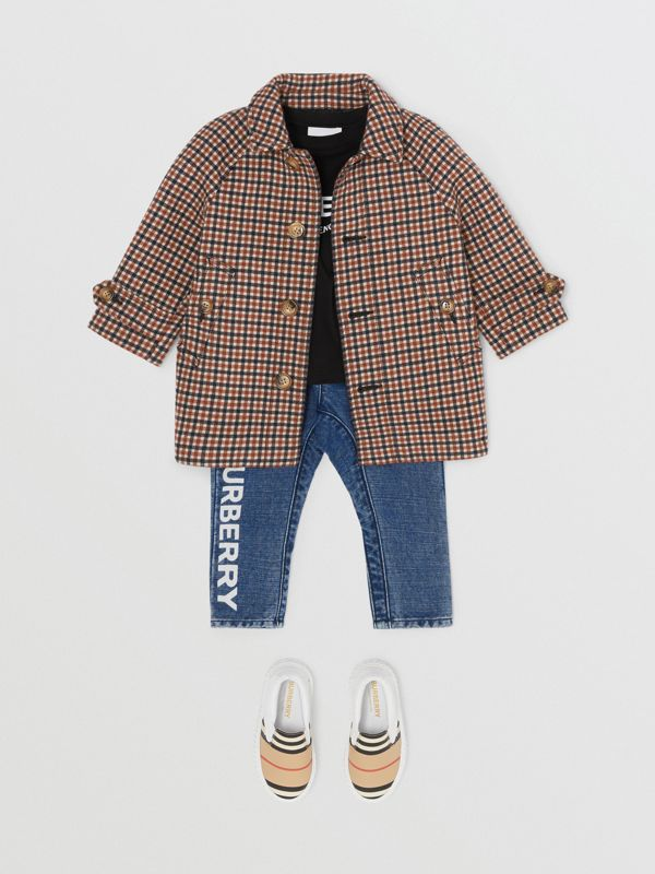 Check Wool Coat in Rust Brown - Children | Burberry - cell image 2