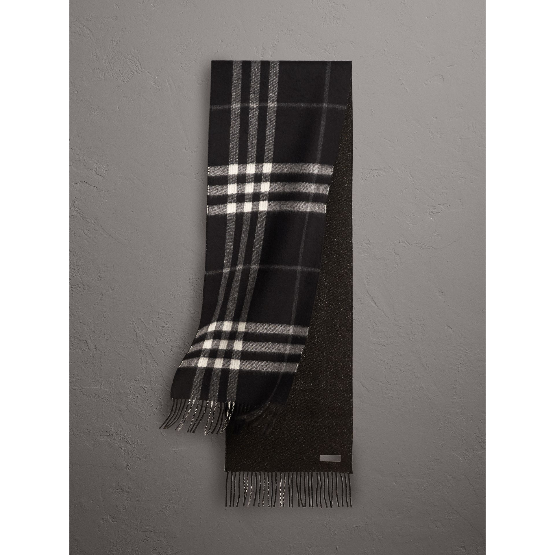 Reversible Metallic Check Cashmere Scarf in Black | Burberry - gallery image 0