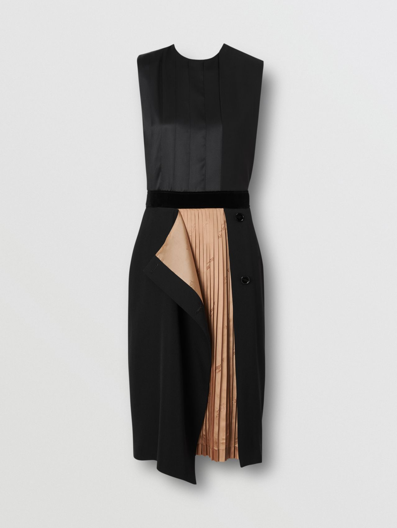 Panel Detail Silk and Wool Shift Dress in Black