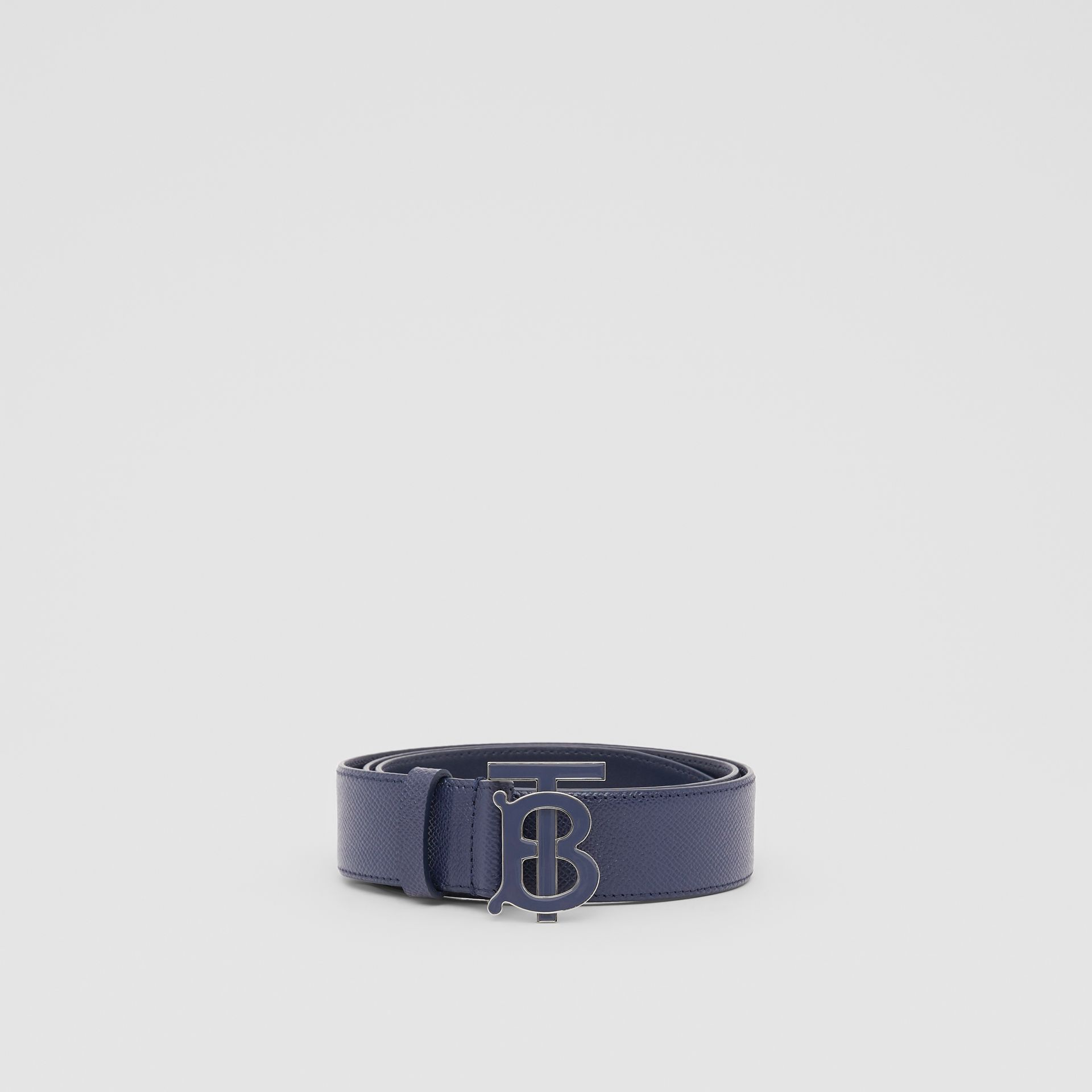 Monogram Motif Grainy Leather Belt in Navy - Men | Burberry United Kingdom - gallery image 4