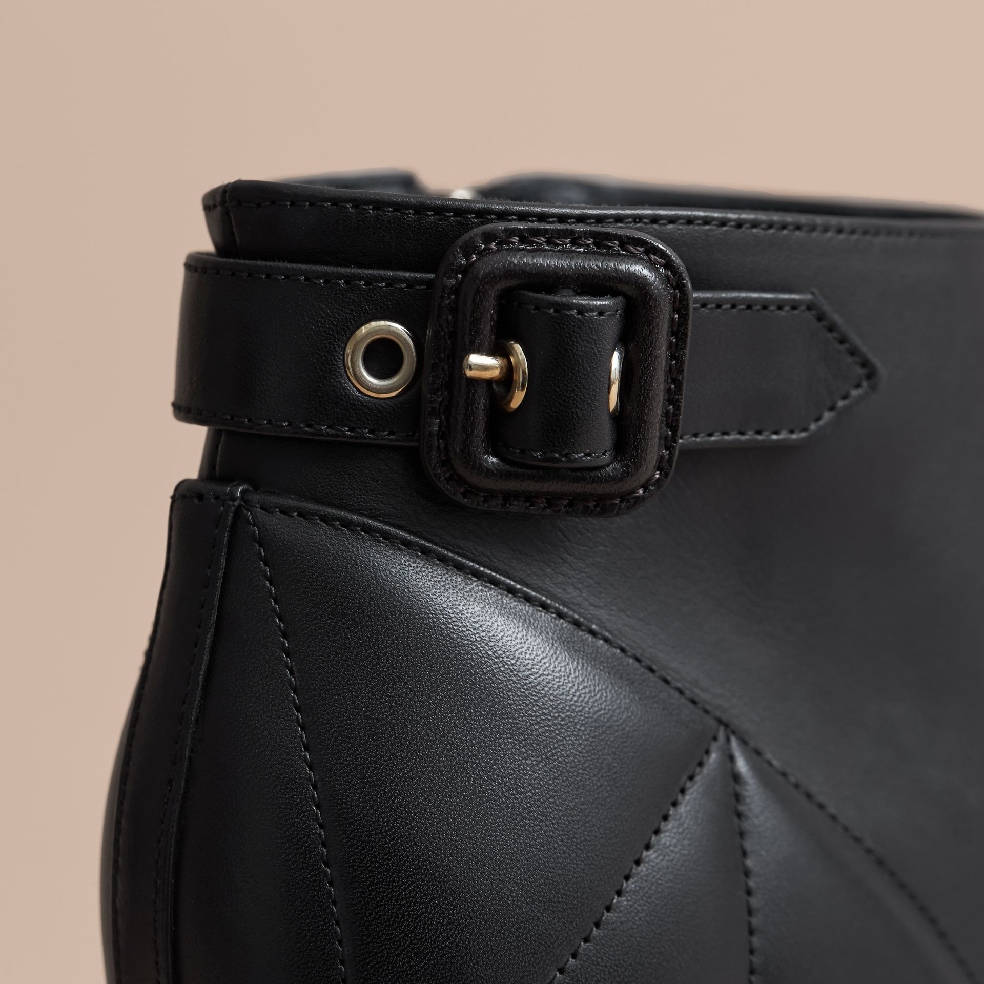 Quilted Leather Ankle Boots in Black - Women | Burberry Canada - gallery image 2