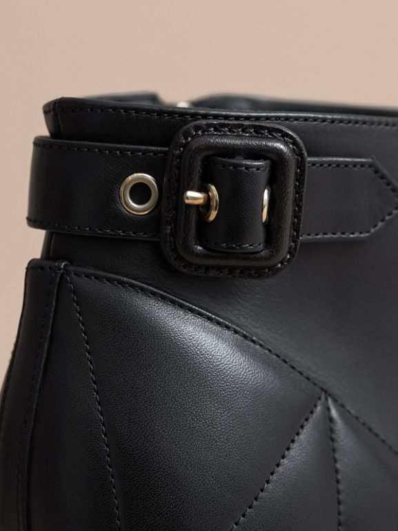 Quilted Leather Ankle Boots in Black   Burberry United States - cell image 1