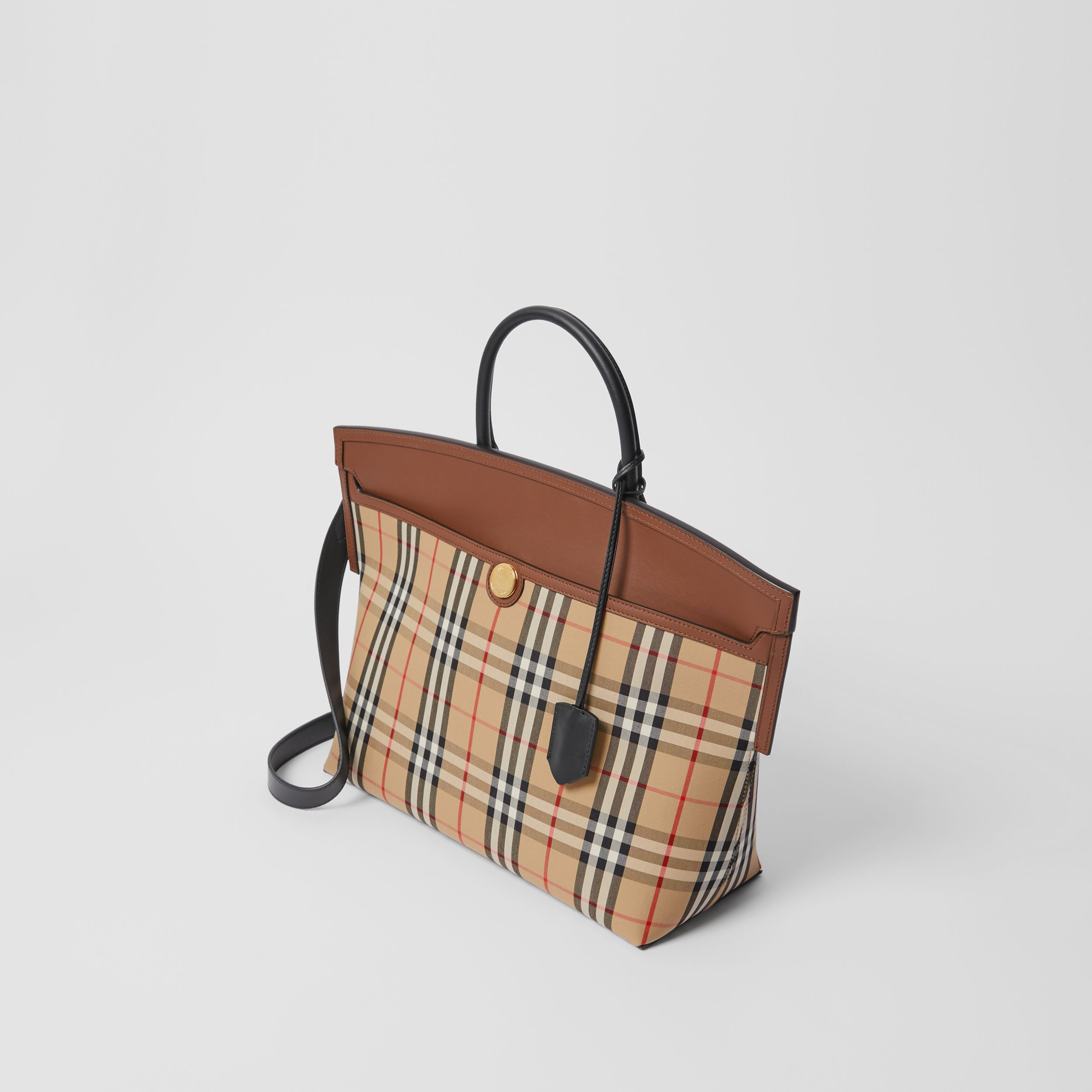 Vintage Check and Leather Society Top Handle Bag in Archive Beige/tan - Women | Burberry - 4