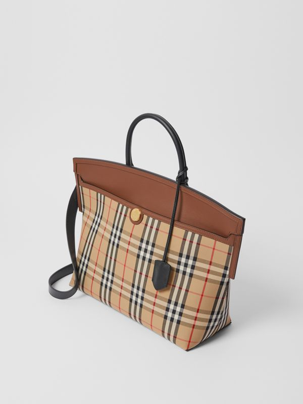 Vintage Check and Leather Society Top Handle Bag in Archive Beige/tan - Women | Burberry United Kingdom - cell image 2