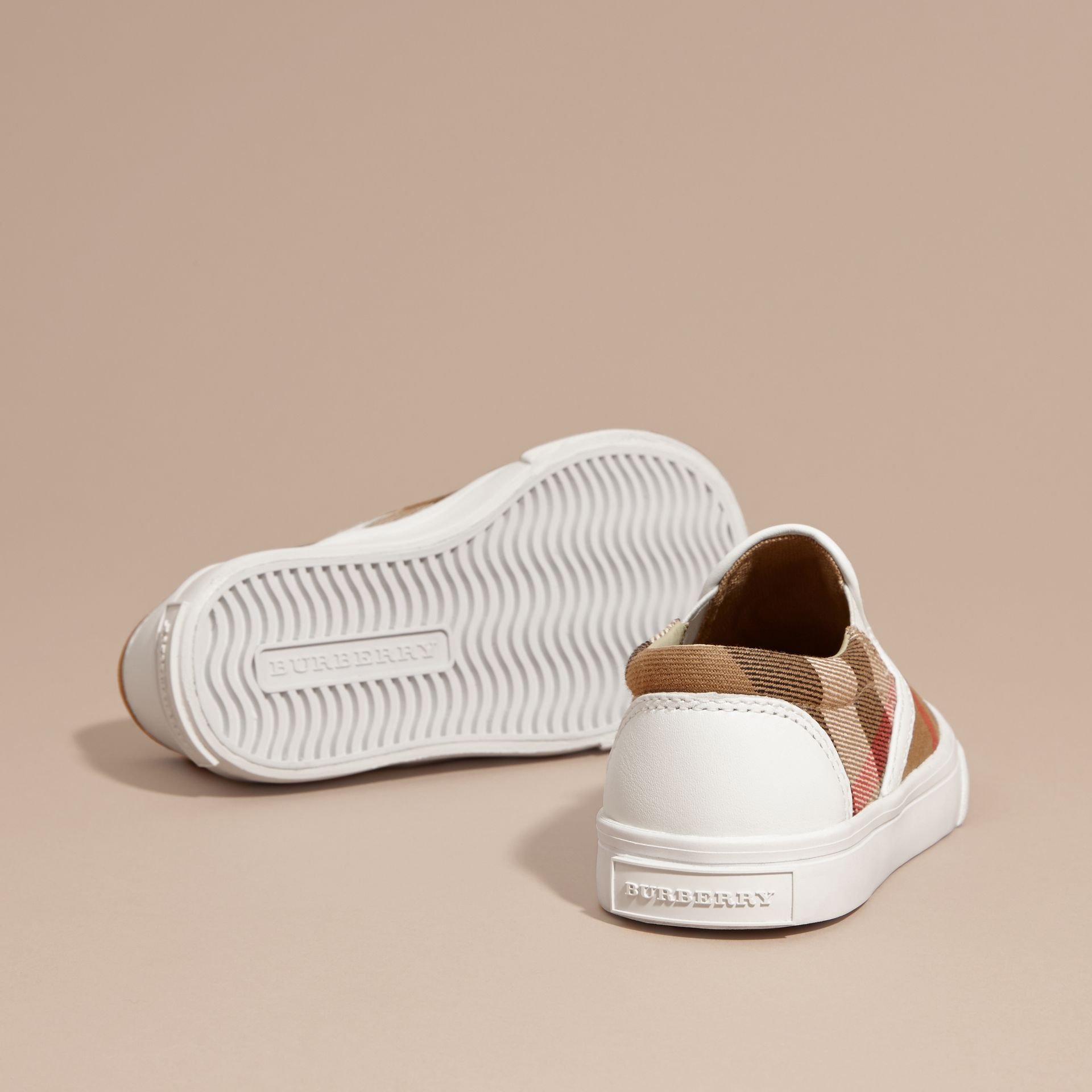 House Check Cotton Slip-On Trainers White - gallery image 2