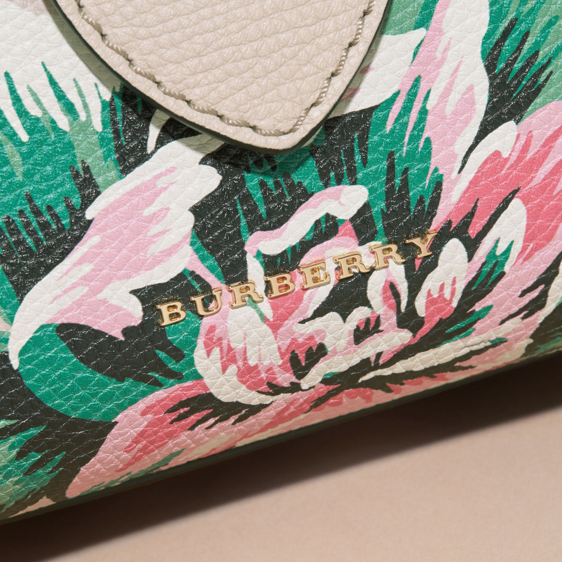 Natural/emerald green The Small Buckle Tote in Peony Rose Print Leather Natural/emerald Green - gallery image 2