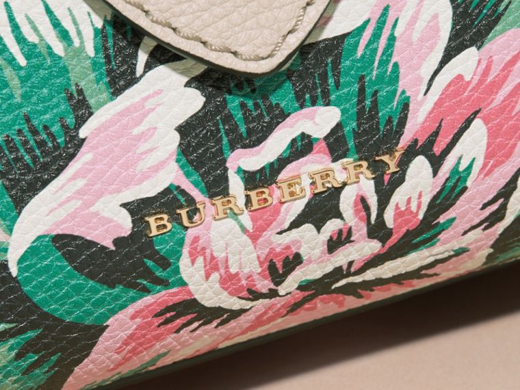 The Small Buckle Tote in Peony Rose Print Leather in Natural/emerald Green - cell image 1