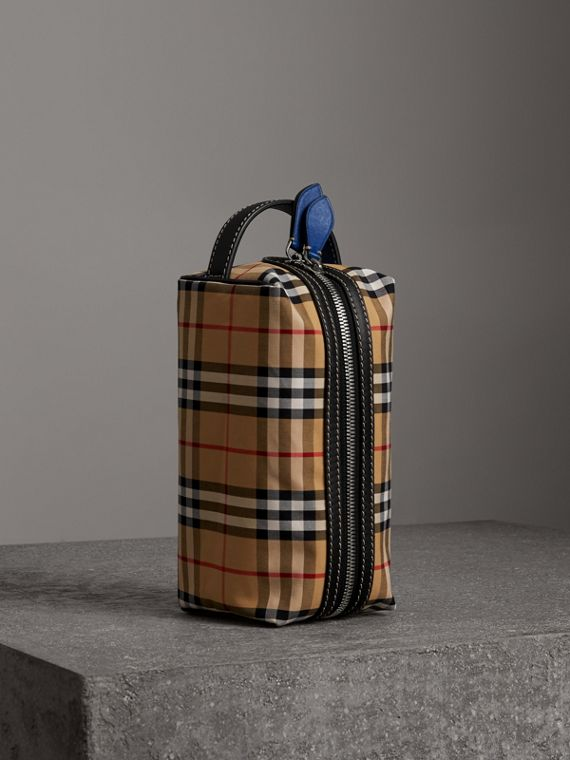 Trousse con motivo Vintage check e finiture in pelle (Ciano Scuro)