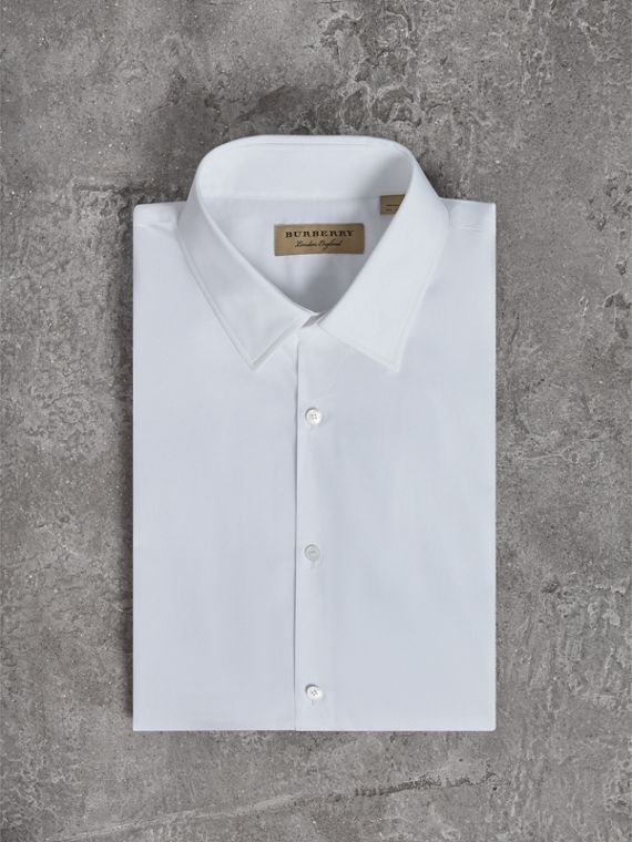 Modern Fit Short-sleeved Cotton Poplin Shirt in White - Men | Burberry Australia - cell image 3