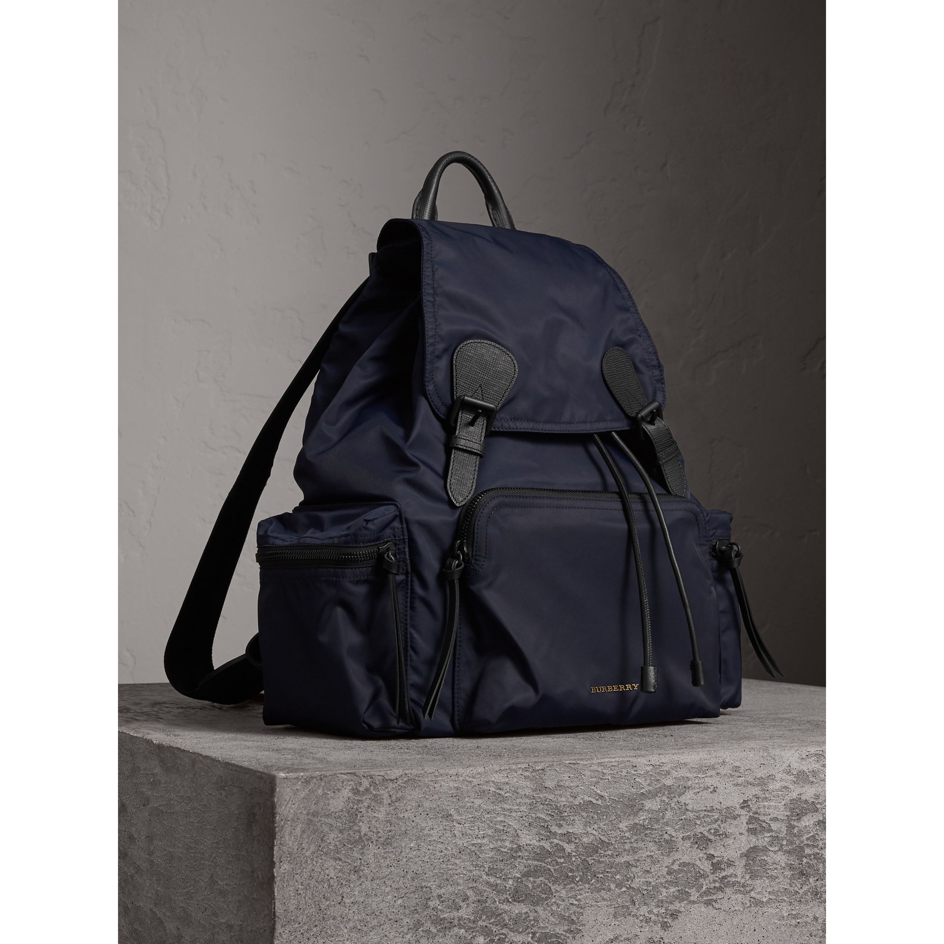 The Extra Large Rucksack in Technical Nylon and Leather in Ink Blue - Men | Burberry - gallery image 7