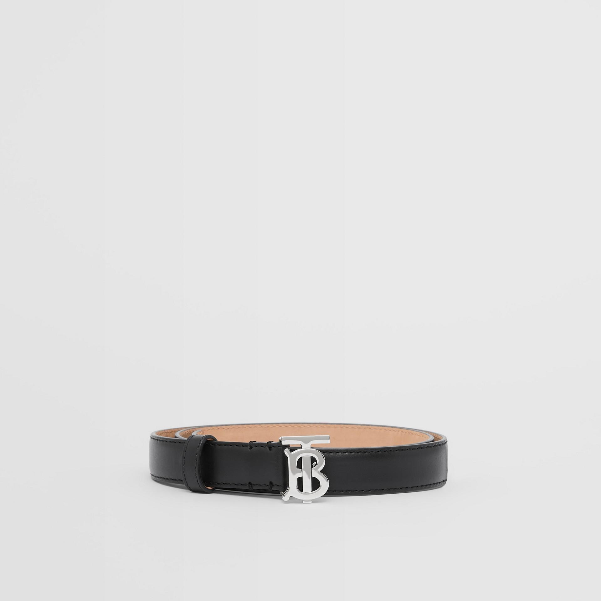 Monogram Motif Leather Belt in Black/palladio - Women | Burberry Canada - gallery image 3