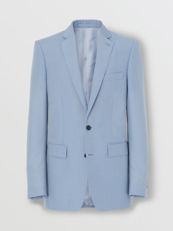 Classic Fit Wool Mohair Tailored Jacket in Pale Blue - Men | Burberry - cell image 3