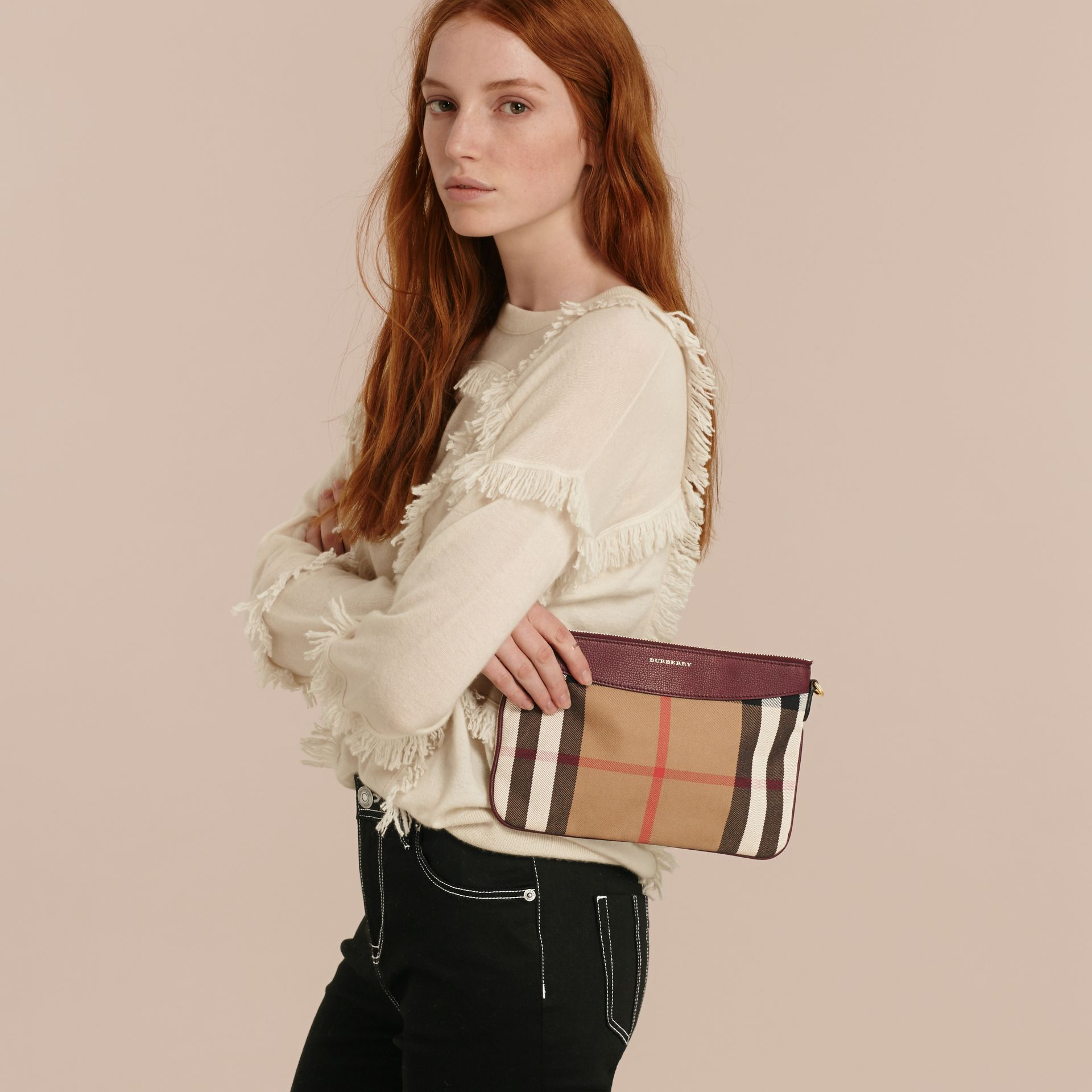 House Check and Leather Clutch Bag in Mahogany Red - gallery image 4