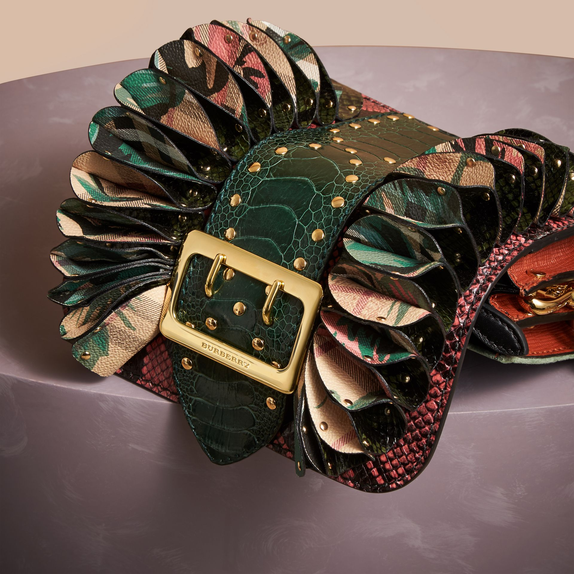 The Ruffle Buckle Bag in Snakeskin, Ostrich and Check in Rose Pink - Women | Burberry United States - gallery image 6