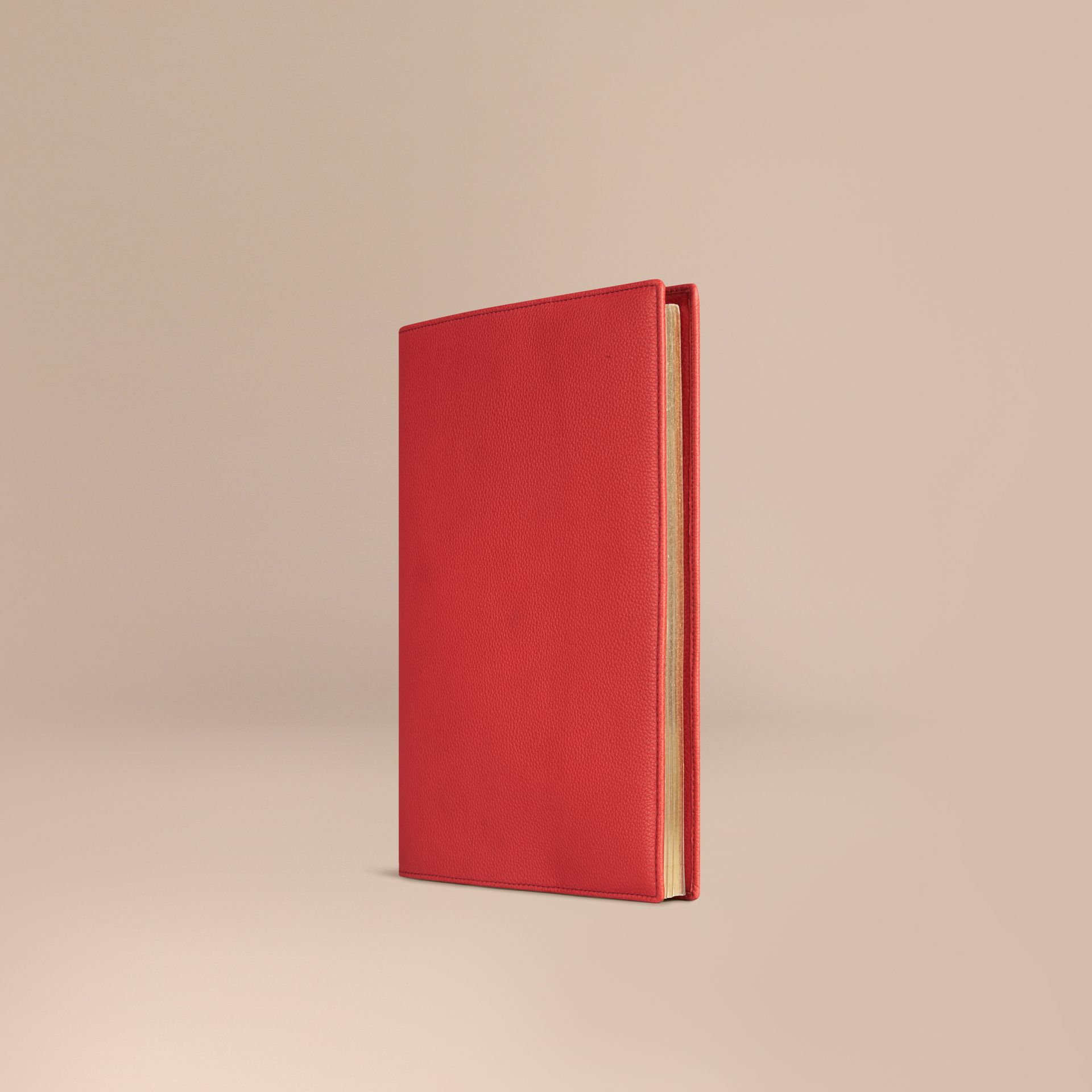 Grainy Leather A4 Notebook in Orange Red | Burberry - gallery image 1
