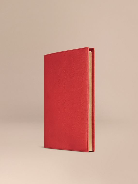 Grainy Leather A4 Notebook in Orange Red | Burberry Singapore