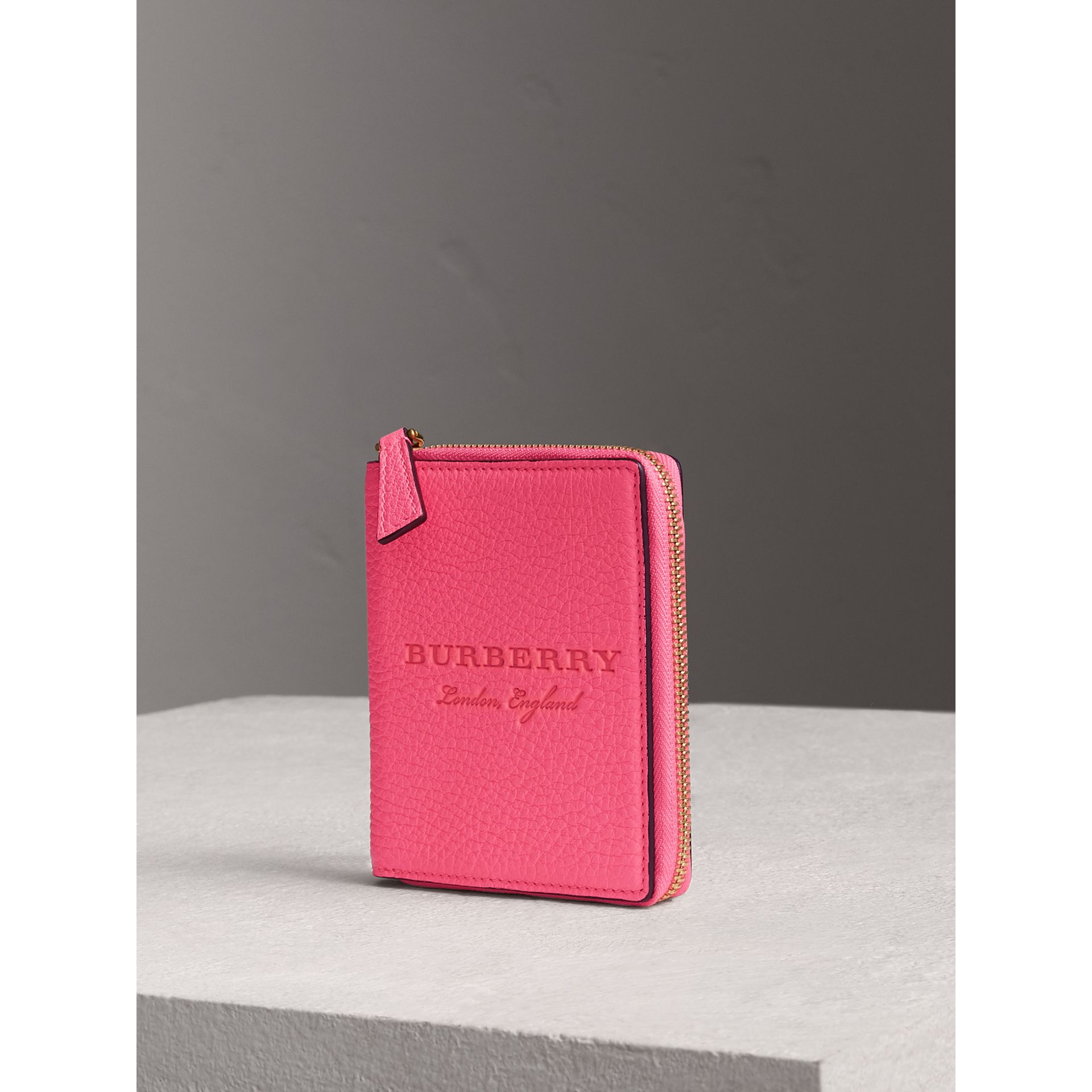 Embossed Grainy Leather Ziparound A6 Notebook Case in Bright Pink | Burberry - gallery image 0