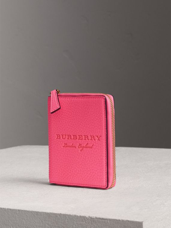Embossed Grainy Leather Ziparound A6 Notebook Case in Bright Pink