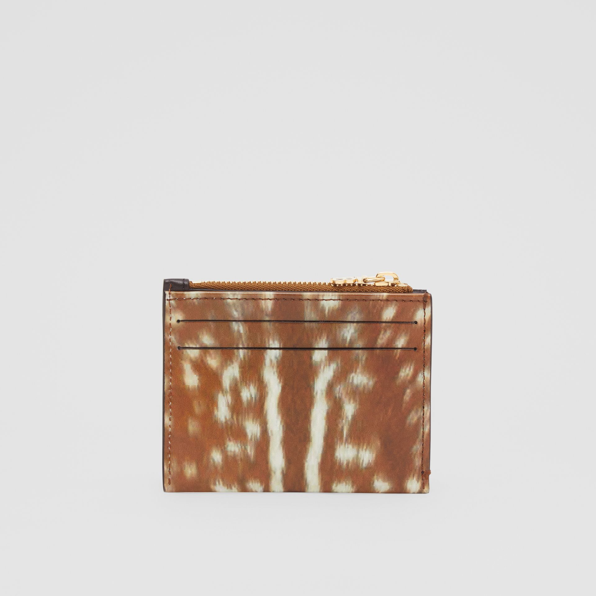 Deer Print Leather Zip Card Case in Malt Brown - Women | Burberry - gallery image 4