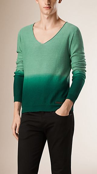 V-neck Dégradé Linen Cotton Sweater