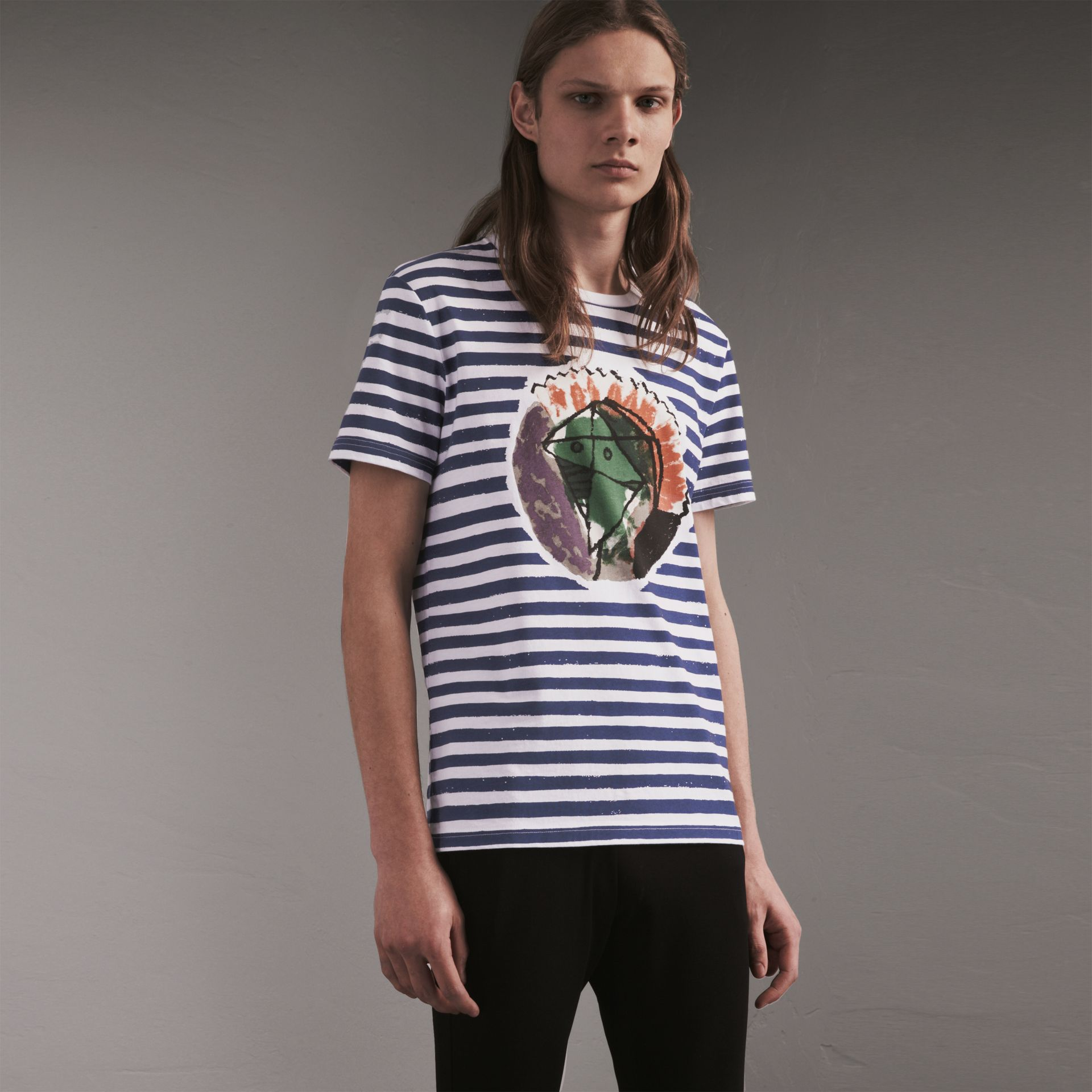Pallas Heads Print Striped Cotton T-shirt in White - Men | Burberry - gallery image 1